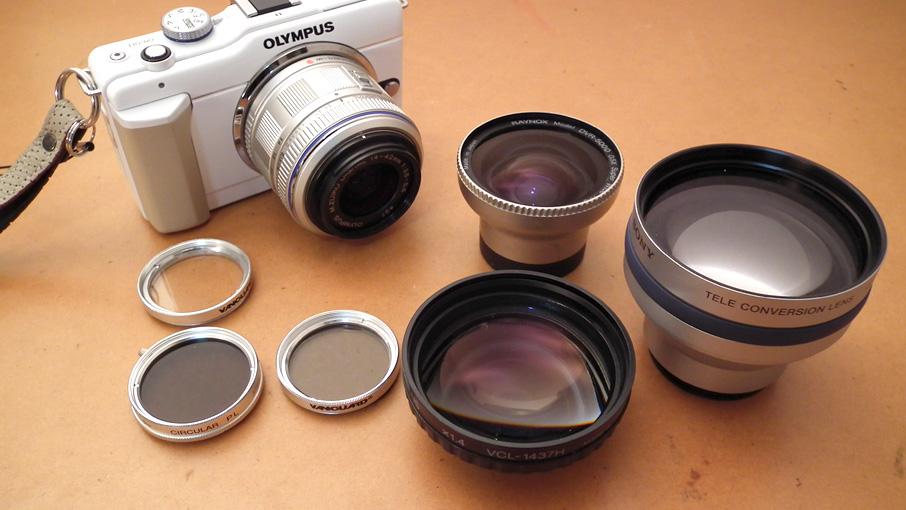 Olympus E-PL1sに Sony HandyCam用レンズをつけてみる
