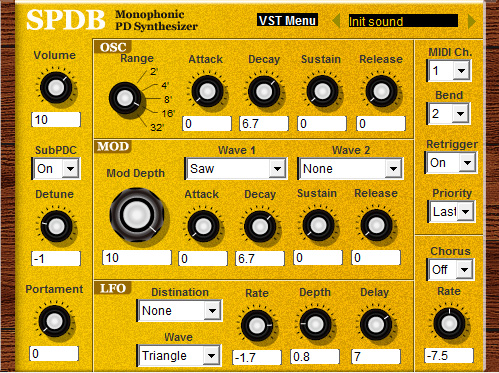 Monophonic PD Synthesizer SPDB