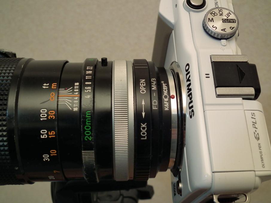 Canon FD 200mm f4 S.S.C.をアダプターでマウント
