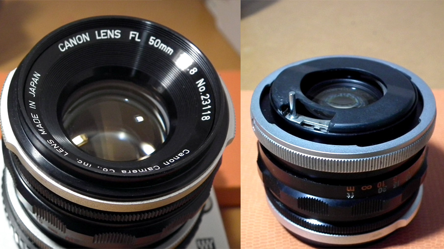 Canon FL50mm 背面を加工