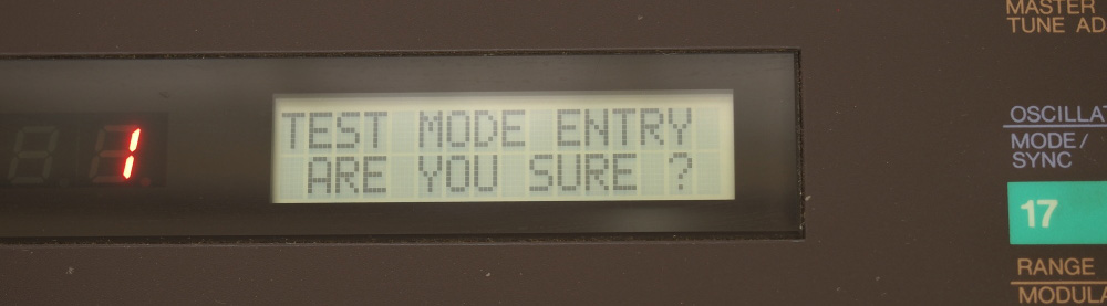 DX7用RAMカートリッジ|TESTモードに入った
